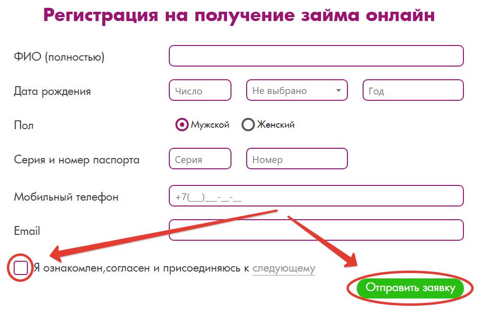 форма регистрации заёмщика