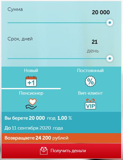выбор формы кредитования в МКК Момент Деньги