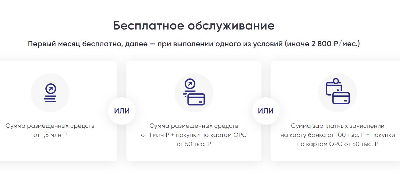 Условия по карте на сайте банка